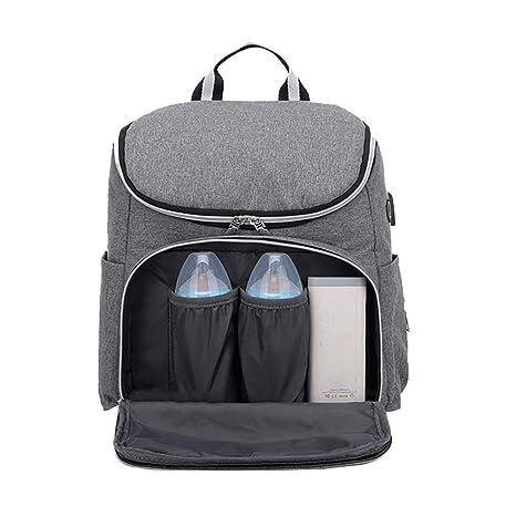 Mamá USB Impermeable Mochila para bolsas de pañales,Bebé Bolsa de pañales impermeable mochila térmica