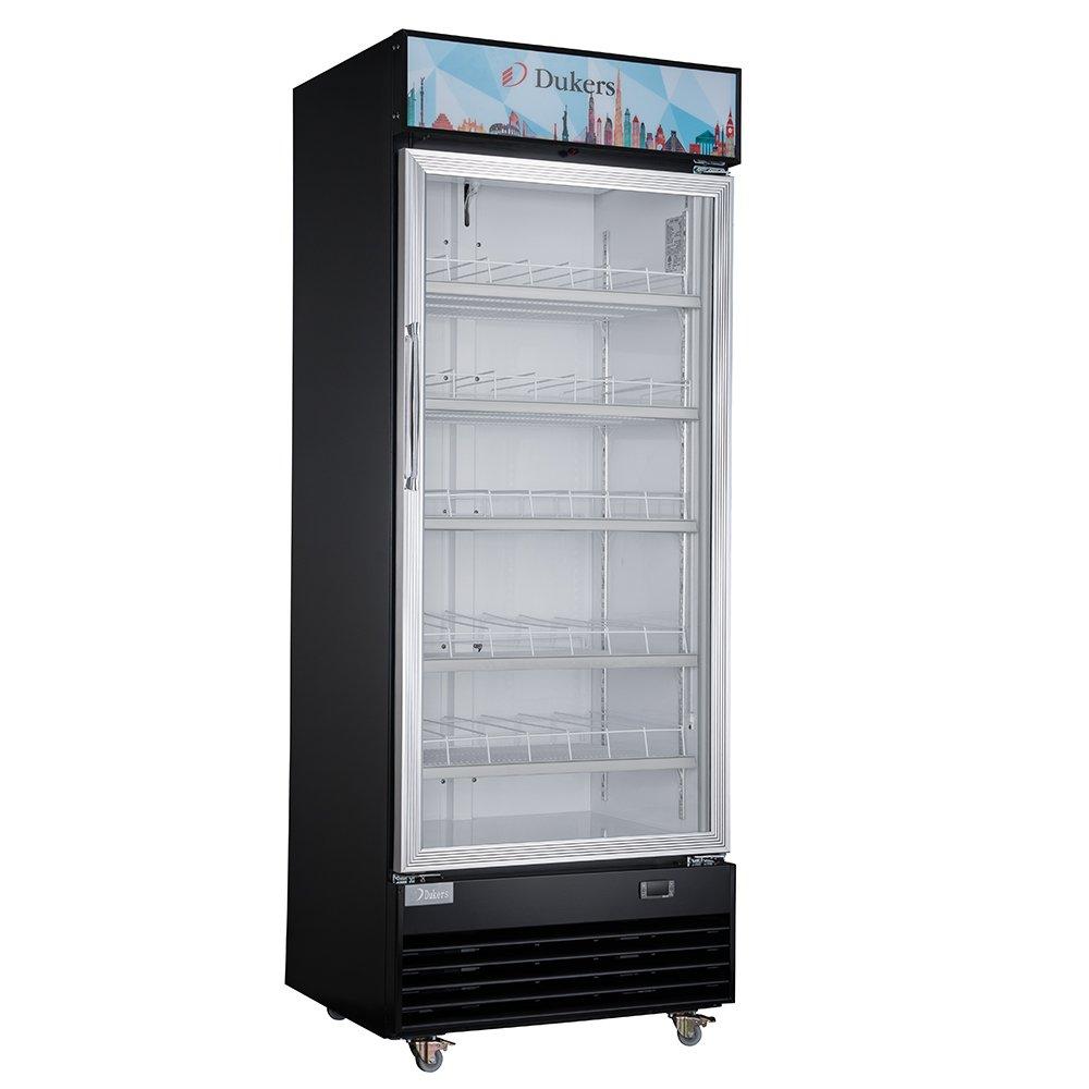 Dukers Appliance USA DUK600172574523 Single Glass Door Merchandiser Refrigerator, 30'' Width x 26'' Depth x 79'' Height- 18 cu. ft., Black