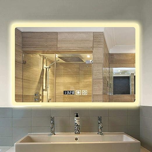 Espejos de pared Espejo de baño con luz LED de montaje en la pared ...