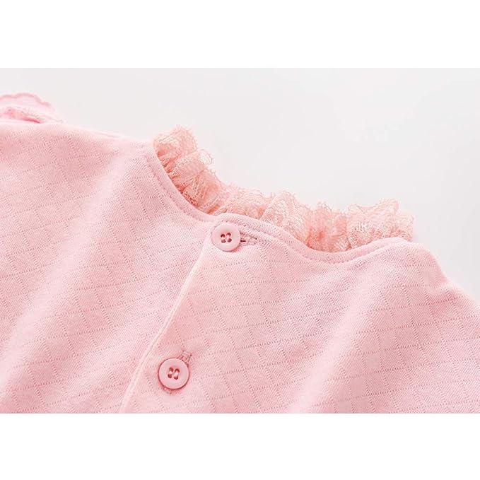 Flor volante del equipo del bebé de los bebés del mono de algodón Bodies bebé Romper el mono de manga larga de encaje lindo con el sombrero rosado 59cm: ...
