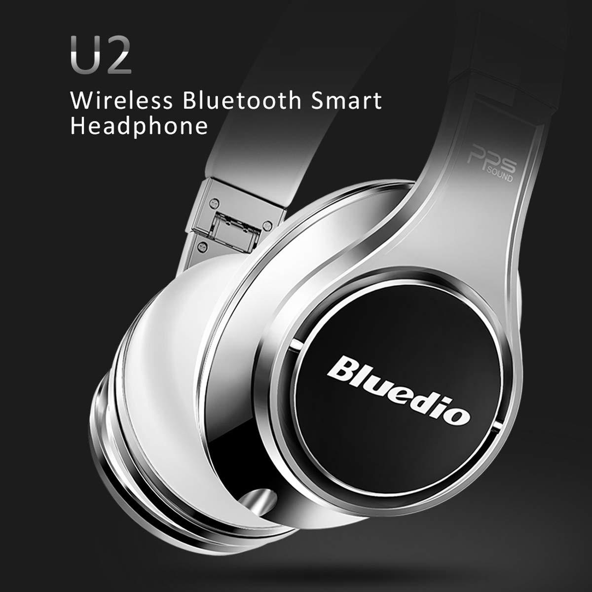 Bluedio U2 (UFO) Auriculares Bluetooth con 8 Altavoces de 3D Sonido, Cubre la Oreja para Controlar de Voz, Micrófono para teléfonos (Blanco y ...