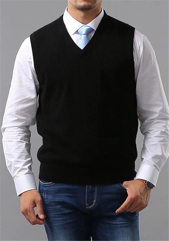 Mioubeila Mens Cashmere V-Neck Vest