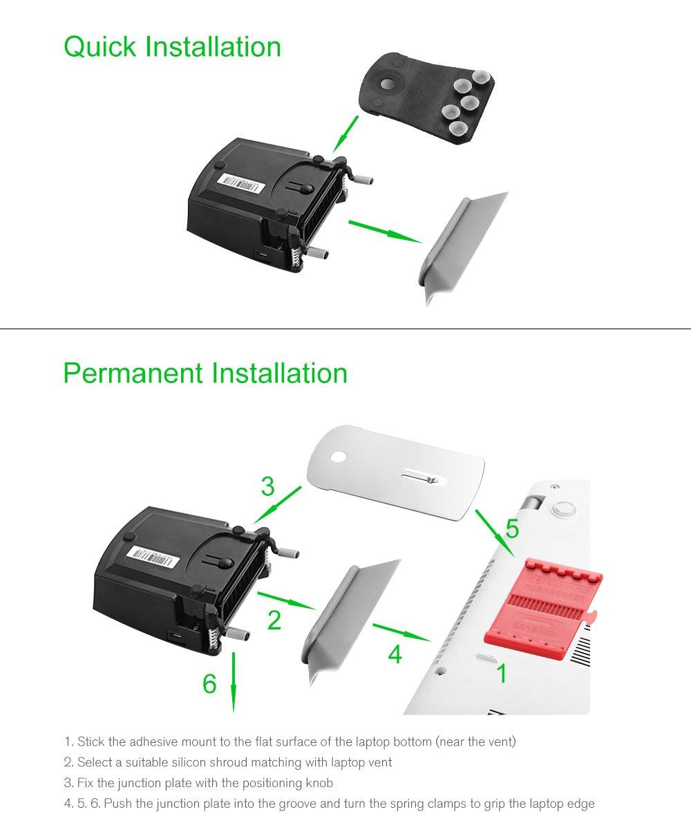 Enfriador Ventilador de Portátil OPOLAR LC06 dispone la pantalla para exhibir la temperatura (enfriamiento rápido, auto-detección de temperatura, ...