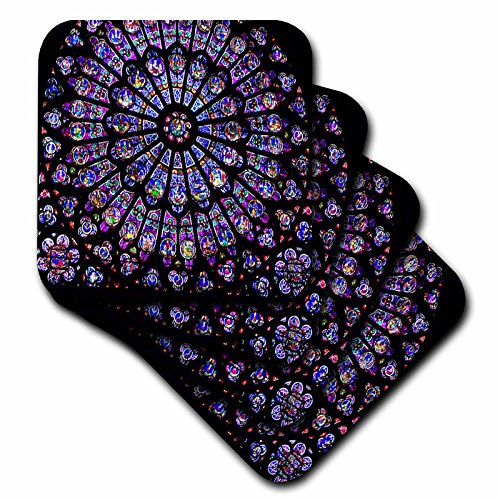 3dRose cst_50227_3 Notre Dame Cathedral Stained Glass Ceramic Tile Coasters, Set of (Notre Dame Stained Glass)