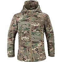 MakingDa Chaquetas impermeables para hombre con capucha casual con forro polar Softshell para correr Chaquetas tácticas…