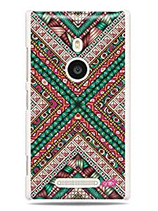 GRÜV Premium Case - 'Fun Cool Funky Vibrant Colorful : Geometric Abstract Futuristic Pattern' Design - Best Quality Designer Print on White Hard Cover - for Nokia Lumia 925