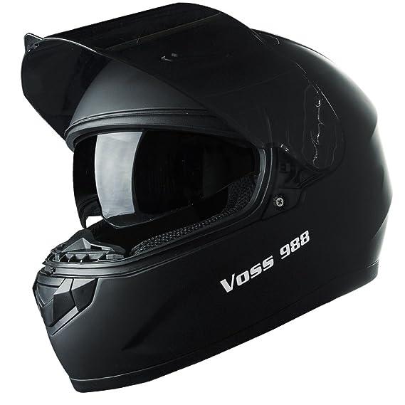 Amazon.com: Voss 988 Moto-1 Street Full Face Helmet with Drop Down Internal Sun Lens - XS - Solid Matte Black: Automotive