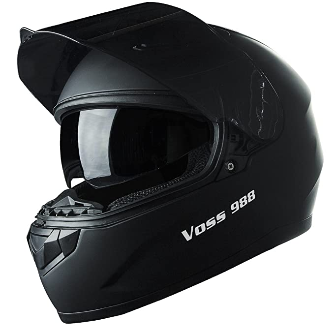 Amazon.com: Voss 988 Moto-1 Street Full Face Helmet with Drop Down Internal Sun Lens - M - Solid Matte Black: Automotive