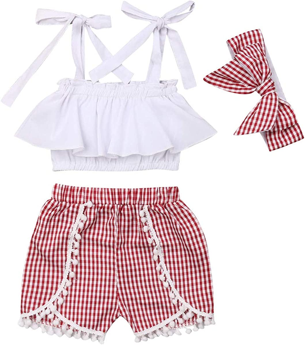 Summer Newborn Infant Baby Girl Clothes Tops Plaid Shorts Overalls 2Pcs Outfit