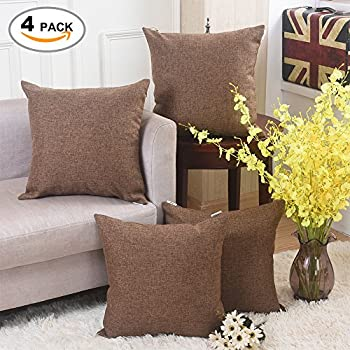 home brilliant decor burlap lined linen square throw pillowcase cushion covers for bench 4 pack