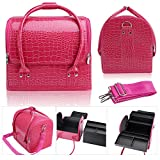 Hotrose Professional Beauty Make Up Case Nail Cosmetic Box (Rose Red)