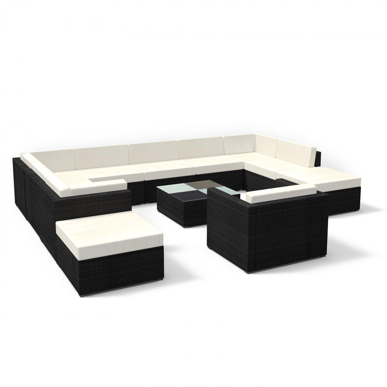 Rattan Gartenmöbel Lounge Set xxl in Schwarz - Gemütliche 12-teilige ...