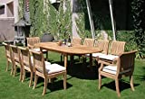 Giva Grade-A Teak Wood luxurious 11 pc Dining Set : 94″ Double Extension Oval Table, 8 Armless and 2 Arm / Captain Chairs #TSDSGVl