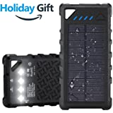 FKANT Waterproof Solar Charger | Portable 16000mAh Dual USB Power Bank | IPX7 Waterproof External Battery Pack with 4LED Flashlight | For iPhone 8 iPad Samsung S8 Note8 Android Phones
