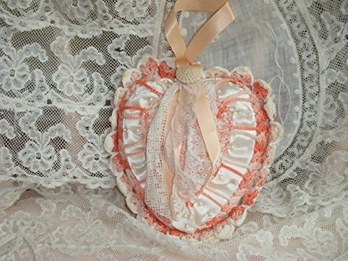 Valentine Heart Pillow Peach Crochet Vintage Lace Ribbon Button Seed Pearls