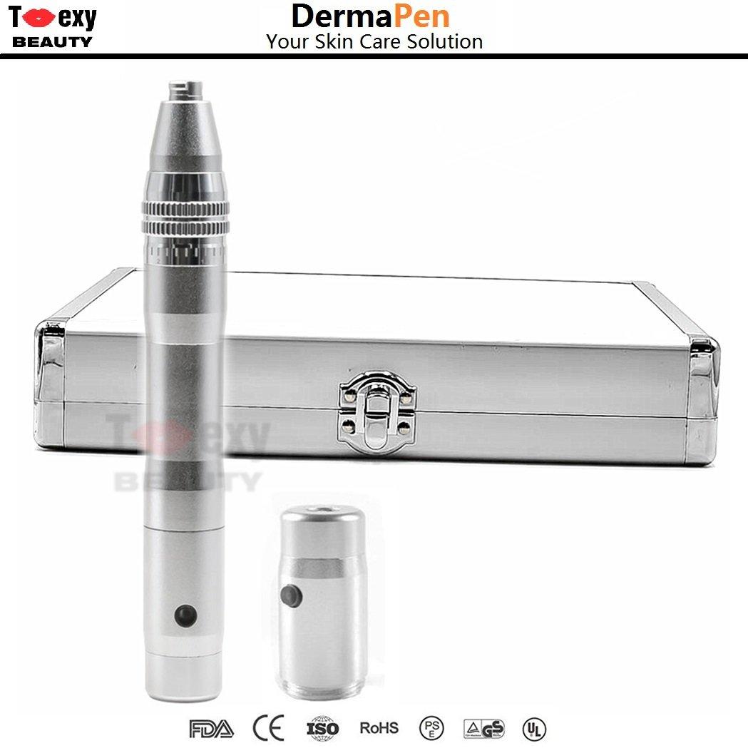 Derma Pen inalámbrico ajustable de 0,25 a 2,5 mm. para cuidado de la piel, antienvejecimiento, arrugas, acné y estrías Toexy Beauty