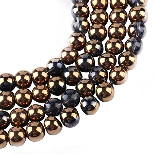 pper Plated Round Transparent Glass Beads Strands with 4x4.5mm,Hole:1mm,about 200pcs/strand (Copper Transparent Necklace)