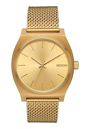 6b96574ec8592 Nixon Time Teller Vintage Style All Gold Womens Watch (37mm. Gold Face and  Milanese