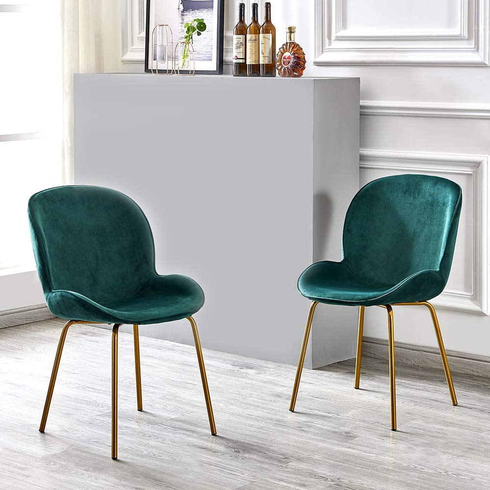 Green Volitation Dining Chairs Soft Velvet Cushion Seat And Back With Luxurious Style Sturdy Metal Legs Kitchen Chairs For Dining And Living Room Chairs Set Of 2 Dining Chairs Home Kitchen