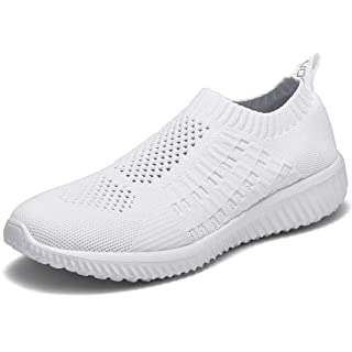 LANCROP Women's Comfortable Walking Shoes - Lightweight Mesh Slip on Athletic Sneakers 9 US, Label 40 All White