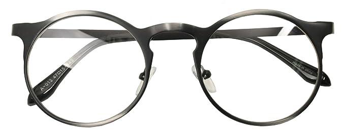 Amazon.com: Classic Retro Metal Eyeglasses Frame Clear Lens Top ...