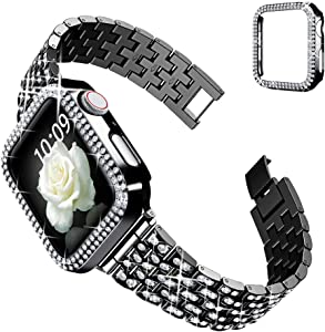 Goton Compatible for Apple Watch Band 38mm, Women Bling Diamond Replacement Strap Bracelet & Bling Bumper Protective Case Compatible for iWatch Band Series 3/2 / 1 (Black, 38mm)