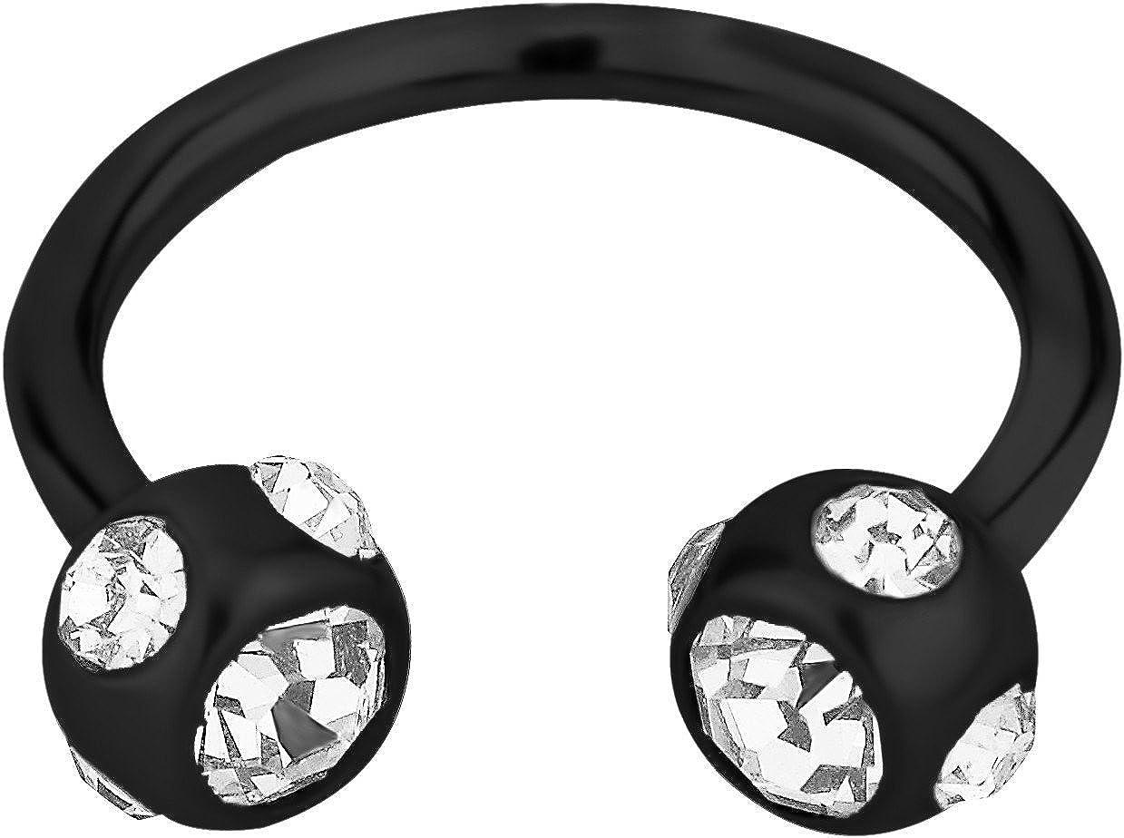 4mm Balls 16g 10mm Surgical Steel Black IP Plated Crystalline Horseshoe Piercing Ring