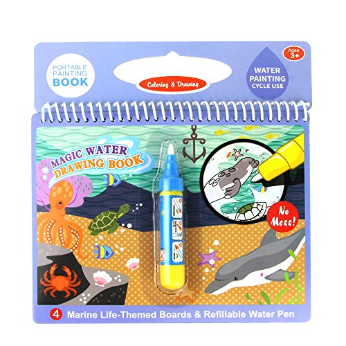 Jenilily Magic Water Drawing Book Coloring Book Doodle with Magic Pen Painting Board for Children Education Drawing Toy (H Marine Animal)