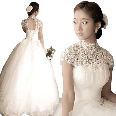ウェディングドレス ハイネック レース プリンセスライン エレガンス 極上ドレス