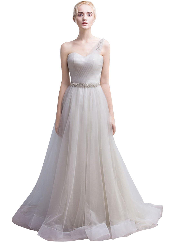 ASVOGUE Women's One Shoulder Evening Ball Gown Bridesmaid Floor Length Dress