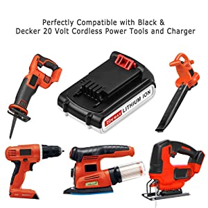 LBXR20 Upgraded to 2.5Ah Replace for Black and Decker 20V Lithium Battery Max LB20 LBX20 LST220 LBXR2020-OPE LBXR20B-2 LB2X4020 Cordless Tool Battery 1 Pack