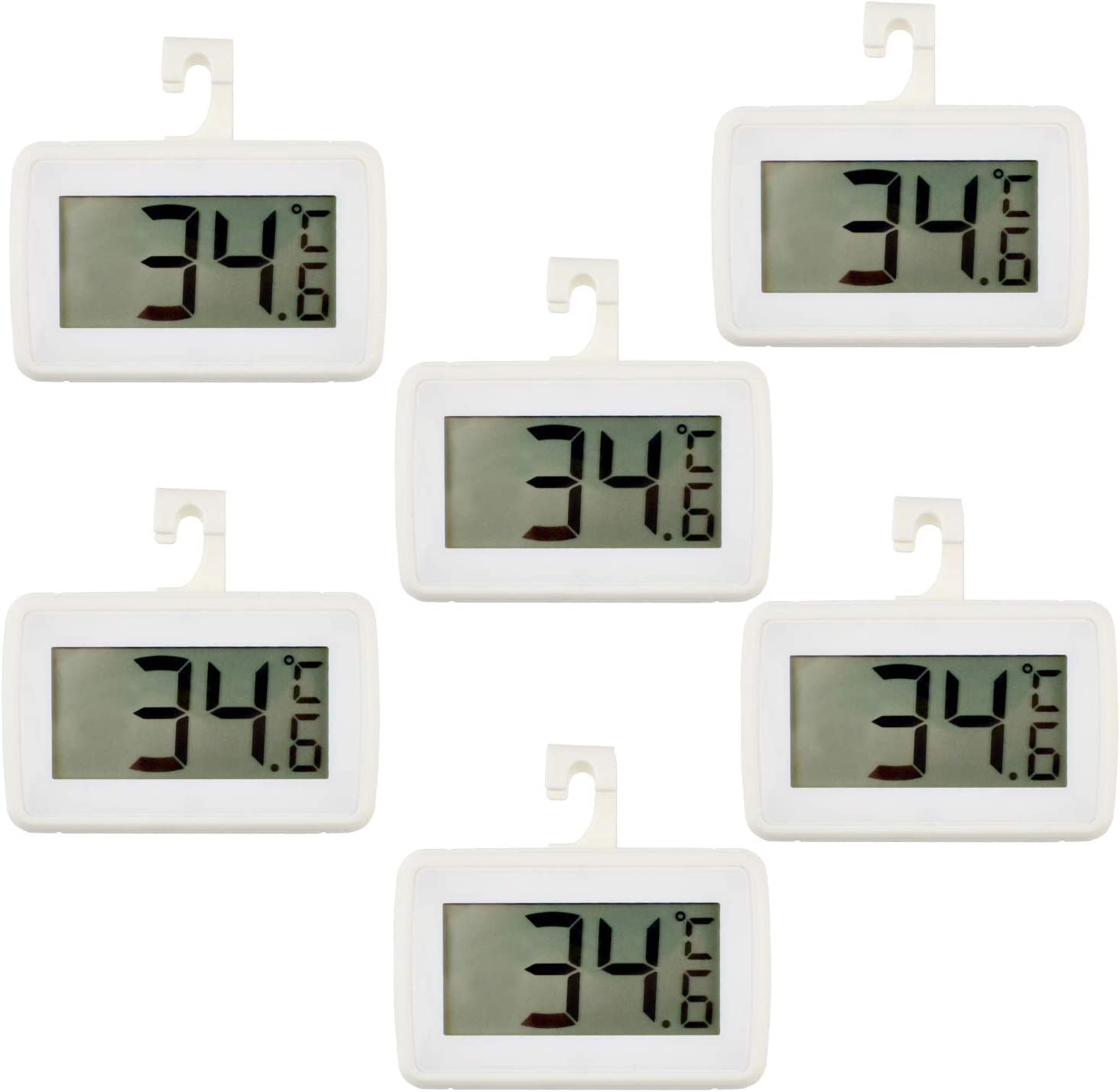 6 PACK Digital Refrigerator Thermometer, Waterproof Freezer Room Thermometer,High Precision Fridge Alarm Thermometer with Hook for Kitchen Home,°C/°F Convertible
