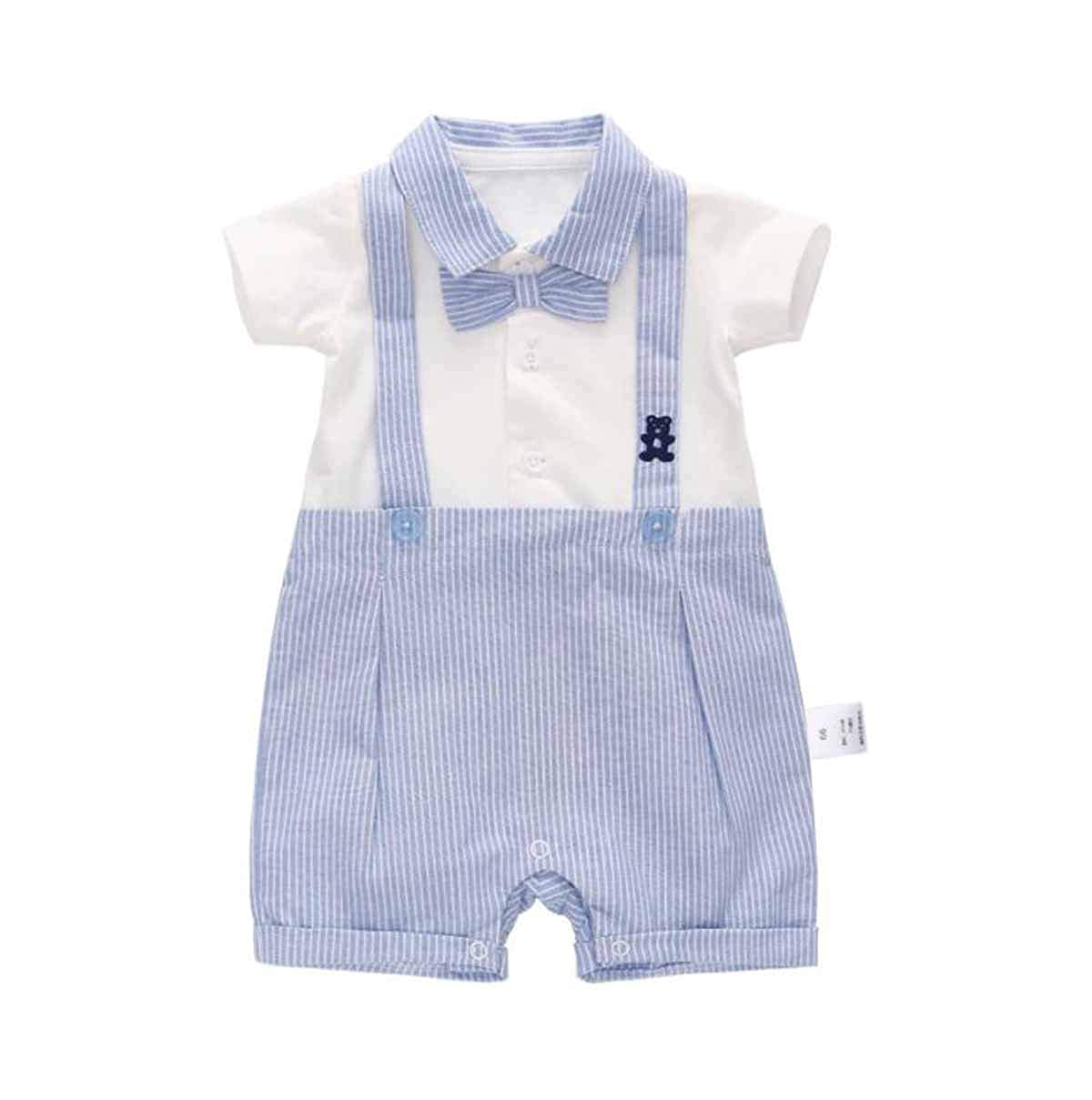 ACVIP Baby Boys Striped Short Sleeves Shirt Rompers Gentlemen Suit