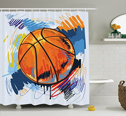 Ambesonne Sports Decor Collection, Basketball Colorful Background Sketch Enjoyment Artful Doodle Style Design Print, Polyester Fabric Bathroom Shower Curtain, 75 Inches Long, Orange Blue Red