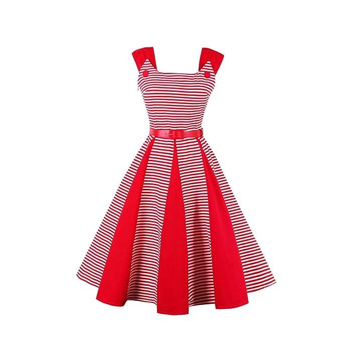 Ropa de verano 1950 Vintage Dress el botón rojo del cinturón vestido de fiesta para las