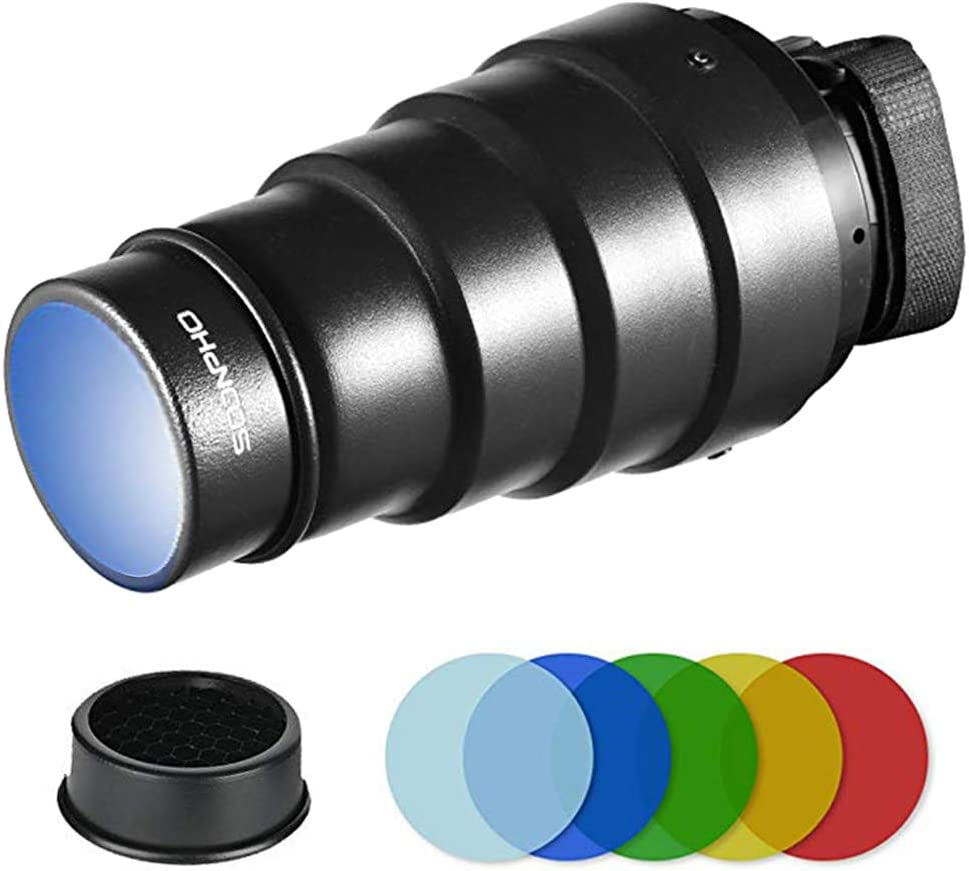 Soonpho Conical Snoot Kit for Speedlite Flash Accessories,Aluminium Alloy Snoot with Honeycomb Grid & 5pcs Color Gel Filters