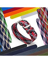 CIVO 20 mm Simple Design NATO Watch Strap Premium Nylon Perlon Braided Woven Watch Bands with Stainless Steel Buckle (Black/Crimson/Grey, 20mm)