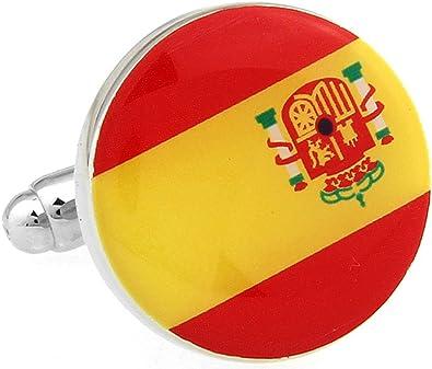 Gemelos de hombre España redondo esmalte Gemelos de bandera de España B2239: Amazon.es: Joyería