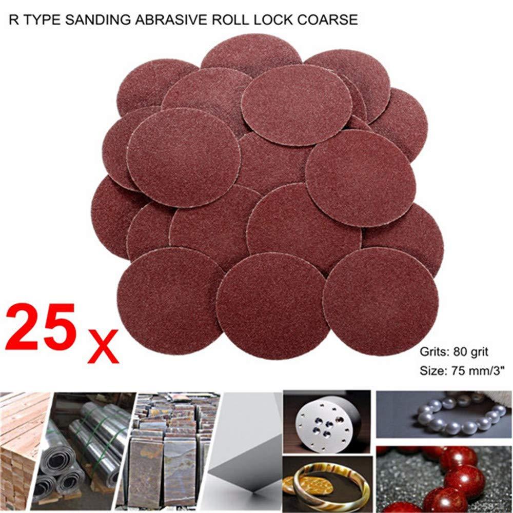 Asdomo 25pcs 3 Inch 80 Grit Roloc Discs R Type Roll Lock Sanding Abrasive Disc Roll Lock Coarse