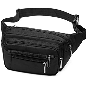 d86394a761b3 Black Fanny Pack for Men and Women, 6 Zipper Pockets Waist Pack Belt Bags,  Large Capacity Waist Bag Bum Bag with Adjustable Strap, Quick Release ...