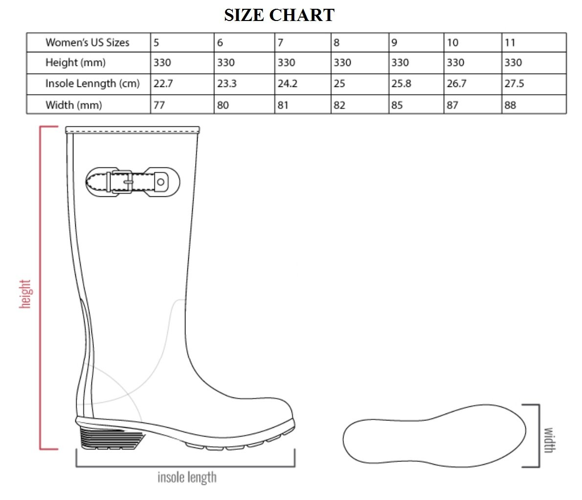 Chooka Women's Tall Memory Foam Rain Boot, Black, 7 M US by Chooka (Image #7)