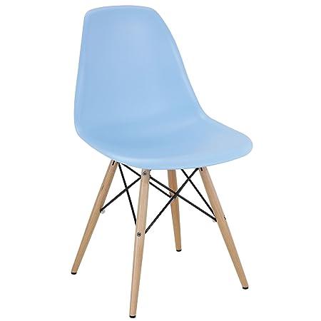 herman miller eames dsw style molded plastic dowel leg side chair