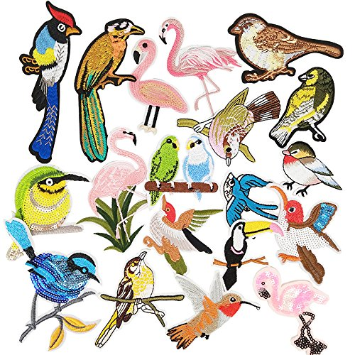 Dandan DIY Assorted of 20pcs Embroidered Patch Birds Sew On/Iron On Patch Applique Clothes Dress Plant Hat Jeans Sewing Flowers Applique DIY Accessory (Assorted of (Bird Embroidered Iron)