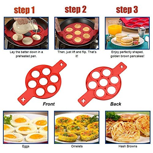 Silicone Pancakes Mold, Silicone Egg Mold, made of Non Stick BPA Free and FDA Approved Silicone Reusable Non Stick, Silicone Pancake Maker and Flipper for Kitchen by For Jaunty Mood (Image #5)