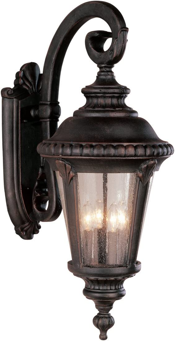 Trans Globe 5045 RT Estate – Four Light Outdoor Large Wall Bracket – Down, Rust Finish with Seeded Glass