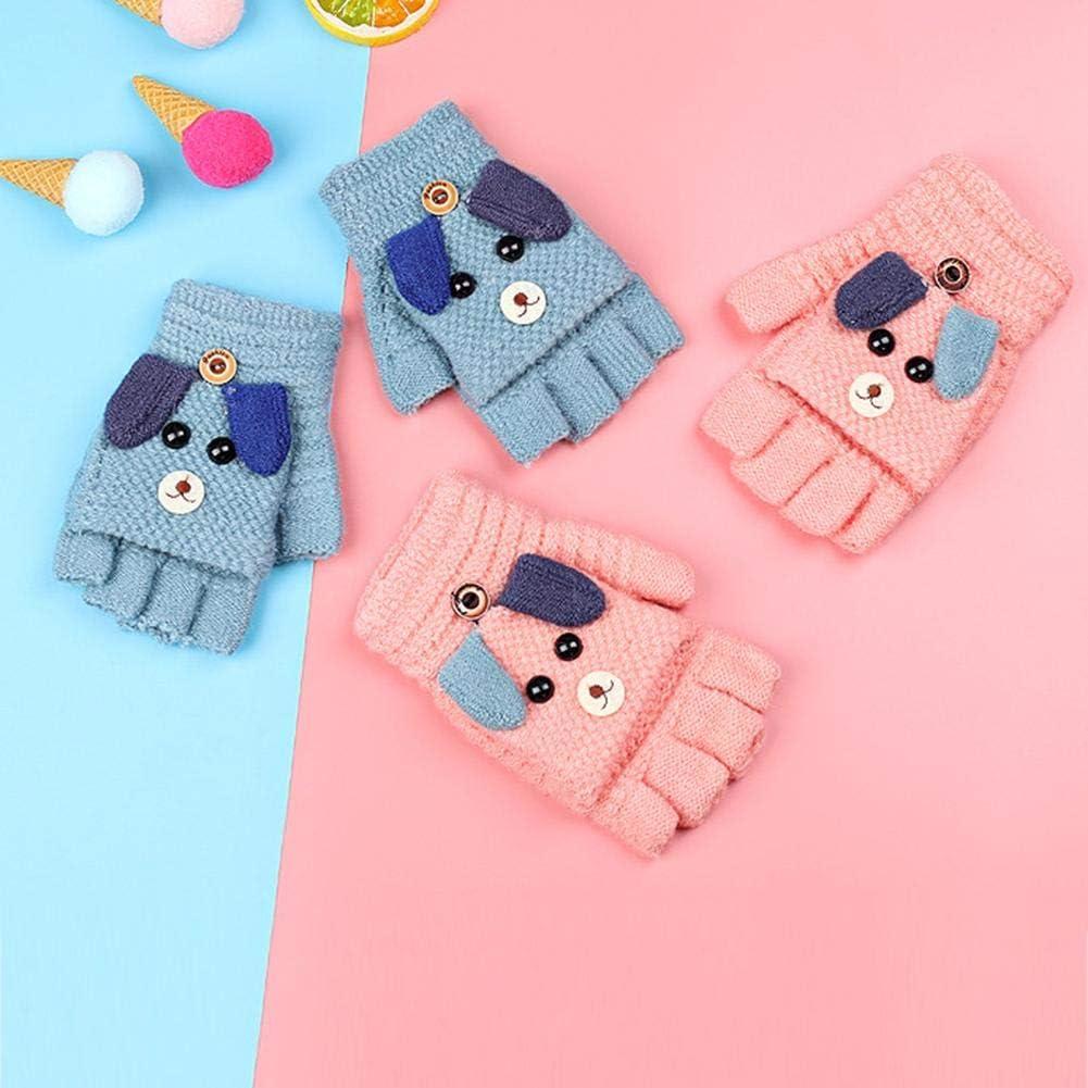 mysticall Guanti infradito per bambini unisex guanti caldi con fodera per le ragazze dei ragazzi 8-13 apposite guanti per bambini capretto magico invernale a maglia capovolta convertibile senza dita