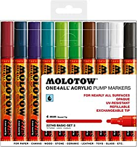 molotow one4all acrylic paint marker set 10. Black Bedroom Furniture Sets. Home Design Ideas