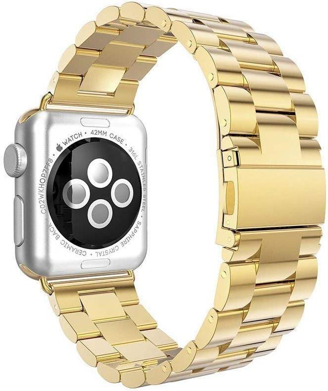 L@LILI Apple Watch Series 4 Correa, Correa de muñeca metálica con Correa de Repuesto de Acero Inoxidable para iWatch Serie 4 3 2 1,Chrome,42mm