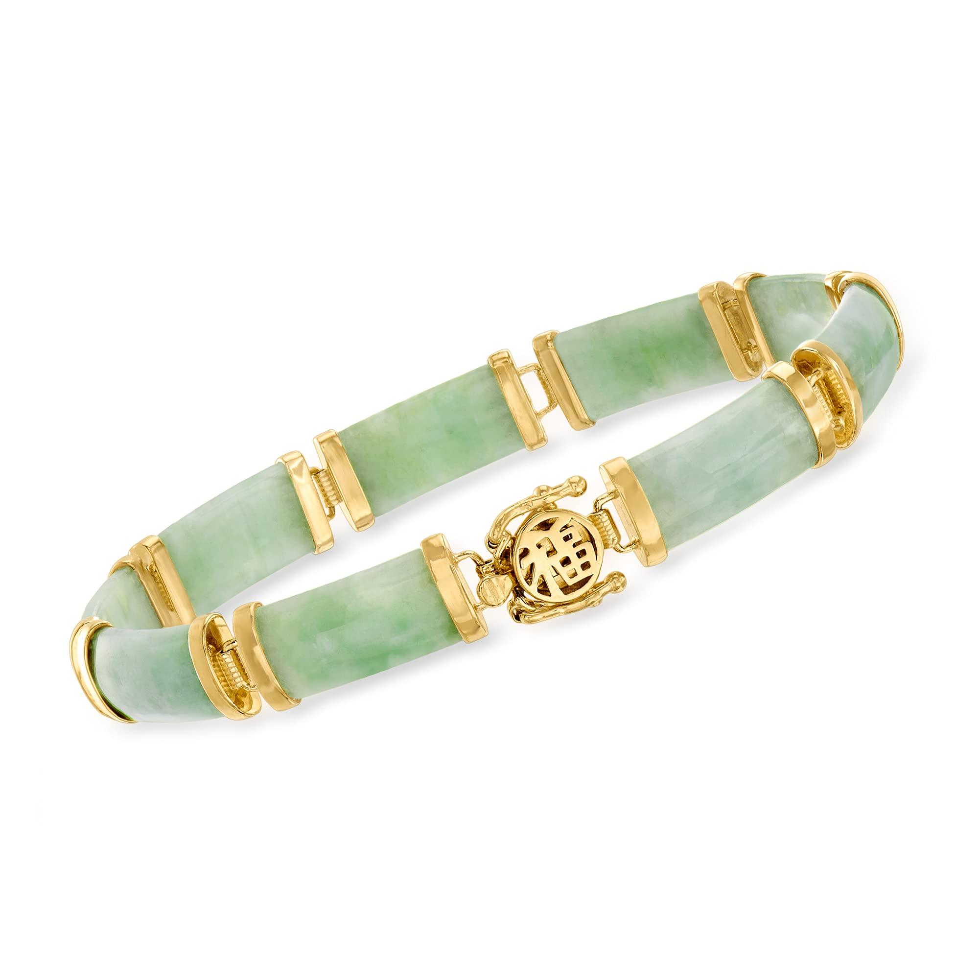 """Jade""""Good Fortune"""" Bracelet in 18kt Gold Over Sterling"""
