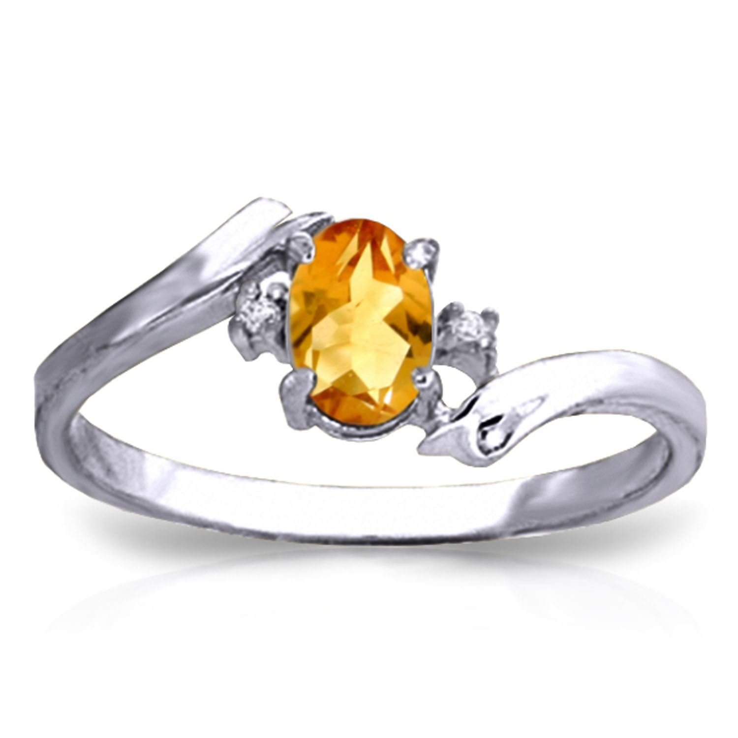 ALARRI 0.46 CTW 14K Solid White Gold Love Carries On Citrine Diamond Ring Ring Size 7.5